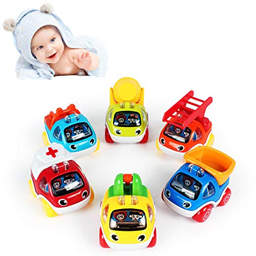 LUKAT Pull Back Cars Toys for 1 2 3 Year Old Pull Back Vehicles Gift for 1 2 3 Year Old Baby Cars Toys ()