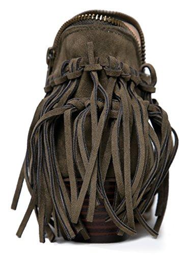 Cowboy Closed Bootie Bailey J Suede Adams Heel Low Olive Ankle Toe Fringe Boot Western 1TBWwq6
