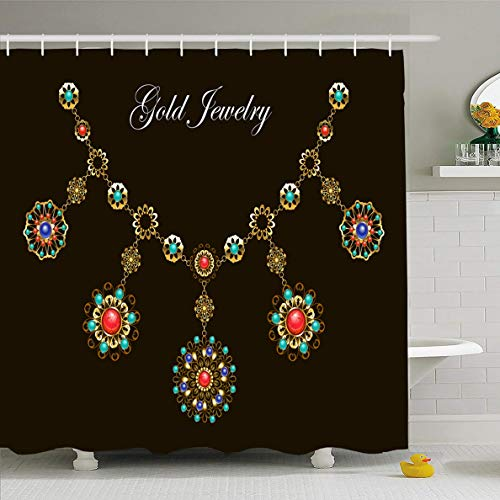 Ahawoso Shower Curtain 66x72 Inches Necklace Red Gem Ethnic Gold Semiprecious Stones Lapis Carnelian Boho Gemstone Medallion Turquoise Waterproof Polyester Fabric Set with Hooks ()