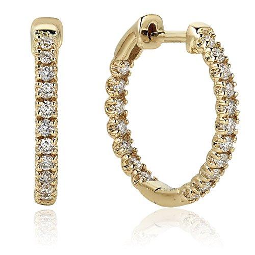 Diamond 1/2 ct Hoop Earrings in 14K Yellow (1/2 Ct Diamond Hoop Earrings)