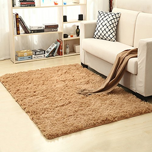 LOCHAS Soft Indoor Modern Area Rugs Fluffy Living Room Carpets Suitable for Children Bedroom Decor Nursery Rugs 4 Feet by 5.3 Feet (Khaki) (Furniture Discount Luxury Bedroom)