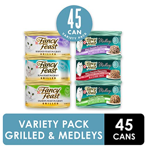Purina Fancy Feast Wet Cat Food Variety Pack, Grilled Feast & Medleys Seafood Collection – (45) 3 oz. Cans