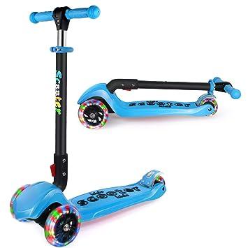 GOOGO Patinete de 3 Ruedas para Niños de 3 a 12 Años Scooter 3 Wheels con Luces LED, Barra Ajustable, Kick Scooter for Girl Boy