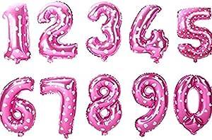 بالون من الرقائق المعدنية على شكل رقم 6 (ستة) لتزيين حفلات أعياد الميلاد أو الخطوبة، ديكور حفلات الذكرى السنوية 43.18 سم و86.36 سم - وردي