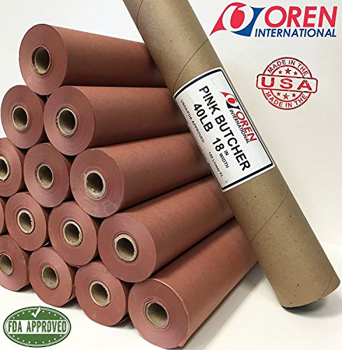 "Pink Butcher Paper Kraft Roll 18"" x 260' (3120"") 