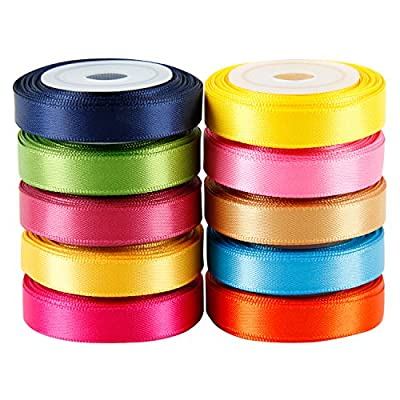 LaRibbons 1 inch Watercolor Printing Satin Ribbons Continuous 10 Yards Roll