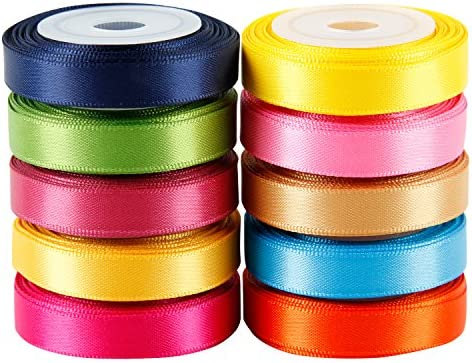 Solid Colour Satin Ribbon Asst 2 10 Colours 1cm X 5 Yard Each Total 50 Yds Per Package Amazon Co Uk Kitchen Home