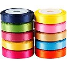 """LaRibbons Solid Color Satin Ribbon Asst. #2-10 Colors 3/8"""" X 5 Yard Each Total 50 Yds Per Package"""