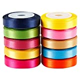LaRibbons Solid Color Satin Ribbon Asst. #2-10 Colors 3/8 X 5 Yard Each Total 50 Yds Per Package