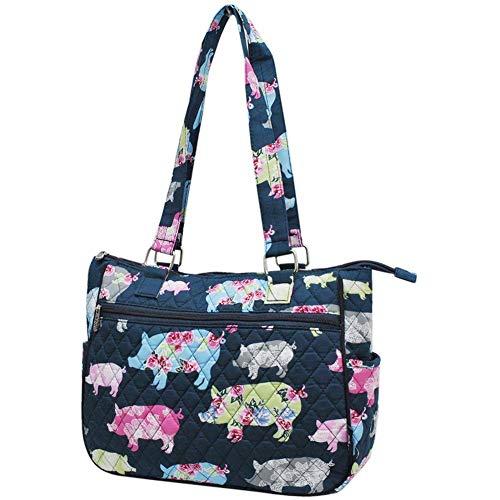 (Ngil Quilted Cotton Shoulder Bag (Farmhouse Pig Navy))