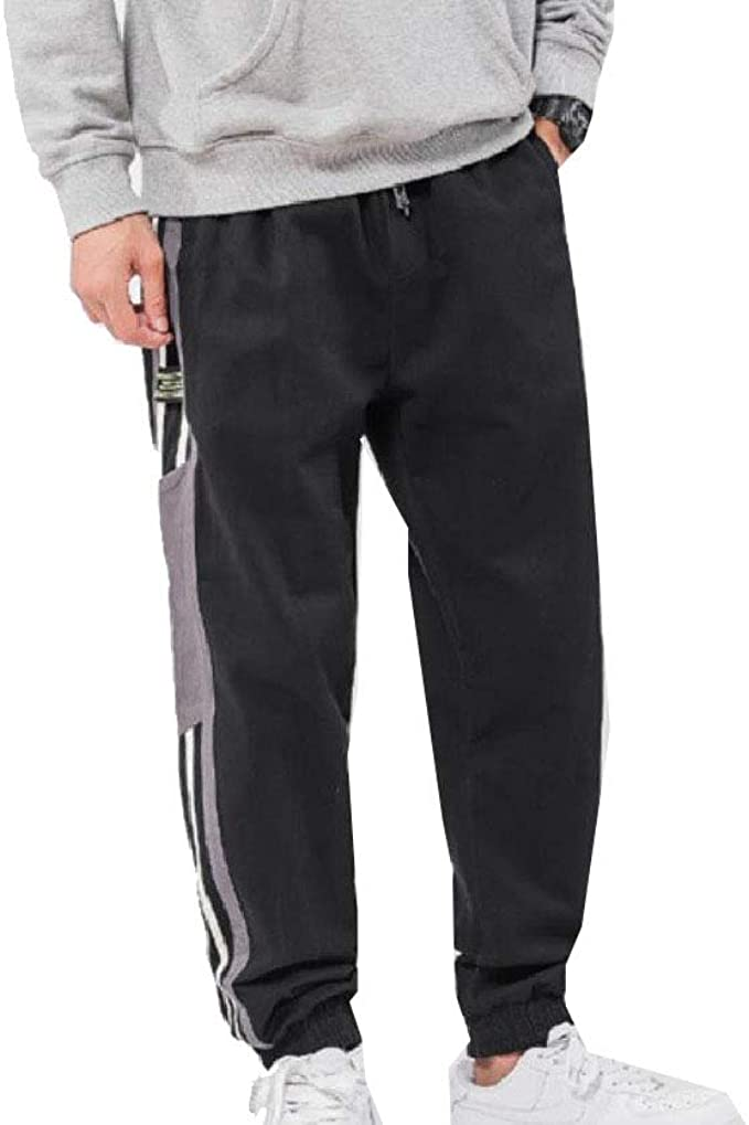 AngelSpace Mens Stripes Washed Plus Size Relaxed Cotton Running Trousers