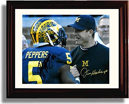 (Framed Jim Harbaugh & Jabrill Peppers Michigan Wolverines Autograph Replica Print)