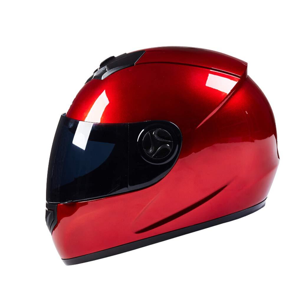 GWM 電気オートバイのヘルメット、男性のバッテリーの電気のヘルメット、女性の四季の普遍的な完全保護のヘルメット、冬の霧防止暖かいスカーフのフルフェイスのヘルメット、日焼け止めの男性のオートバイのレース帽子防曇、フルカバレッジヘルメット (色 : 赤) 赤