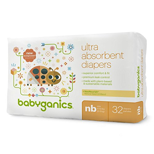 Babyganics Ultra Absorbent Baby Diapers, Newborn, 32 Count