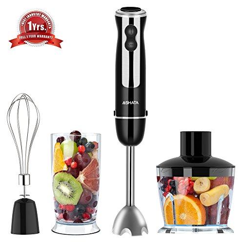 Hand Blender, ASHATA 500 watt 4 in 1 Immersion Hand Blender Set with 500ml Food Processor, 600ml Beaker & Whisk (Raw Foods Blender)