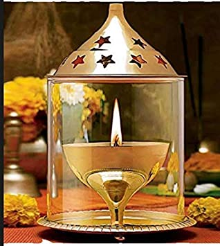 Truvic Brass Akhand Jyot Diya with Molded Glass & Plate, Oval Shape, Diwali Oil Puja Lamp, Temple Home Décor, 8'' cm