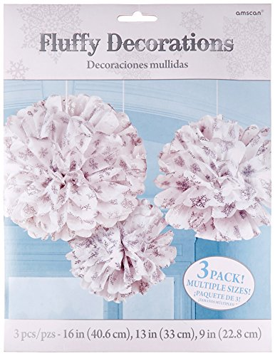 (amscan Winter Wonderland Christmas Fluffy Snowflake Pom-Pom Party Decorations, Tissue Paper, Pack of 3)
