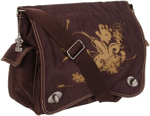 Kalencom Diaper Bag, Screened Chocolate Fleur De Lis
