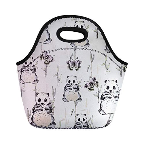 Tote Lunch Bag for Kids Girls Boys Panda Costum Picnic Box Luggage Women Men Adult Insulated Meal with Zip Closure Unisex -