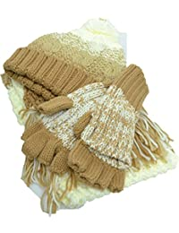 Colorblock Pom Pom Cold Weather Beanie, Glove, Scarf Set Tan