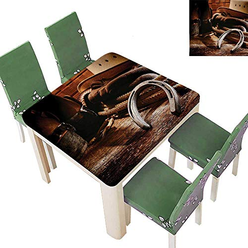 Printsonne Polyester Tablecloth Boho Folklore Materials Classic Style Roper Boots Equestrian Life Icons Heels View Brown Spillproof Tablecloth 50 x 50 Inch (Elastic Edge)