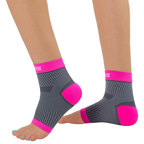 Ultimate Plantar Fasciitis Compression Sleeves (Pair) – Relieve Plantar Fasciitis Pain, Arch Support – Lightweight Brace, Foot Sleeve, Open Toe (L/XL, Neon Pink/Grey)