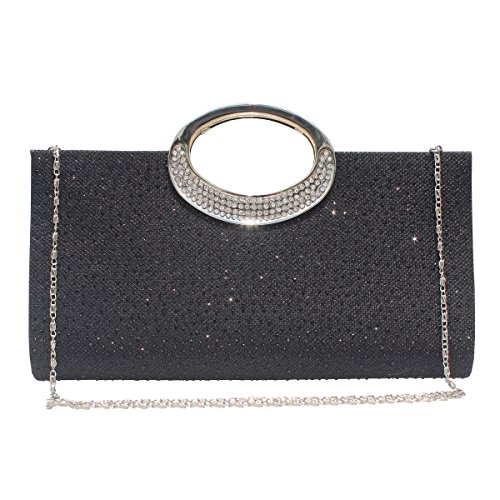 Women Rhinestone Frosted Clutch Bag Handbag Evening Party Wedding Purse.(Black) by GESU