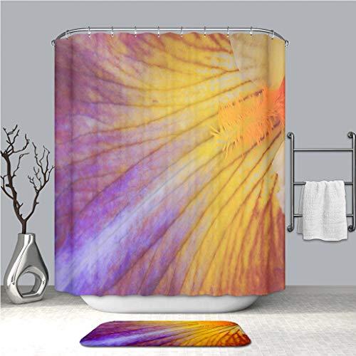 (BEICICI Shower Curtain and Bath mat Rug Bearded Iris Petal_ Custom Stylish,Waterproof,Bathroom)