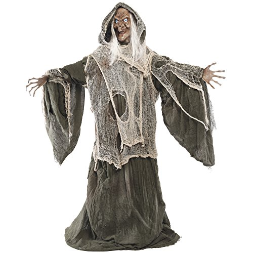 Price comparison product image Prextex 5 Feet Animated Standing Haggard Green Witch with LED Light Eyes, Sound & Head Movement for Spookiest Halloween Décor Prop