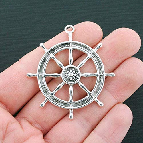 Quartz Ships - Pendant Jewelry Making for Bracelets and Chains 2 Large Helm Charms Antique Silver Tone Ship Wheel Charm - SC4467