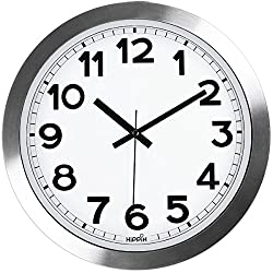 HIPPIH Large Silent Wall clock 12 Inch Non-Ticking Indoor Decorative Silver Aluminium Clocks for Office/Kitchen/Bedroom/Living Room/School