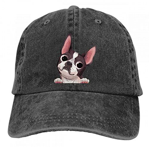 Adults Boston Terrier Baseball Caps Peep Dog Denim Sport Bill Caps (Black)