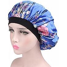 Wcysin Floral Wide Band Satin Bonnet Cap Comfortable Night Sleep Hat Hair Loss Cap (Blue)