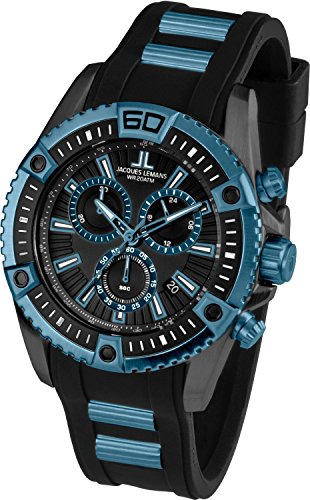 Jacques Lemans Liverpool Professional 1-1805C 46mm Steel Two Tone Case Silicone Mineral Men's Watch