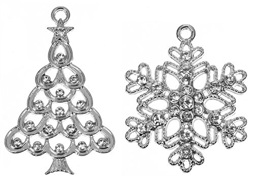 Rhinestone Pendant (Christmas Tree and Snowflake Pendant Charms with Rhinestones, 5 of Each - DIY Crafts, Jewelry Making)