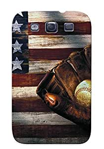 Christmas Gift - Tpu Case Cover For Galaxy S3 Strong Protect Case - Folk Art American Flag And Baseball Mitt Design