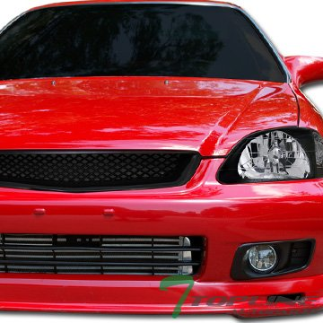 Topline Autopart JDM Black T-R Mesh Type Front Hood Bumper Grill Grille ABS 99-00 Honda Civic All Models Ek Ek9 Ej Jdm Front Hood