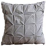 "Luxury Gray Euro Shams, 26""x26"" Euro Pillow Cases, Pintucks Knotted Textured Euro Shams, Cotton Linen Euro Sham Covers, Contemporary Euro Shams - Gray Linen Texture"