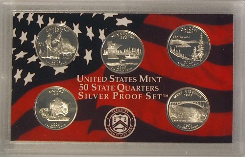 2005 Silver Proof State Quarter Set in Original Government Packaging