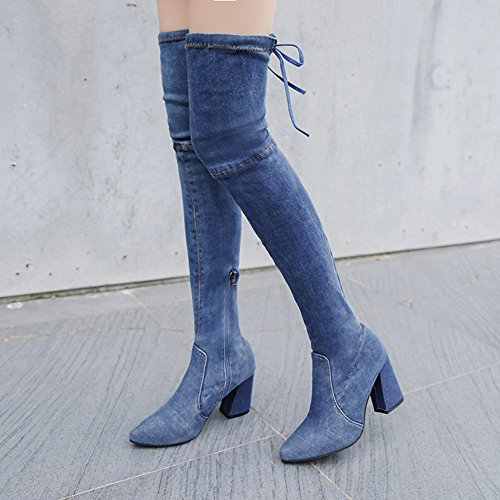 Binggong Bottes Le Talons Taille Bleu Jean Pointu 35 Genou À 40 Femme Élastique Sur La Cuir Mode En Clair Coton Bottines r45rq8w