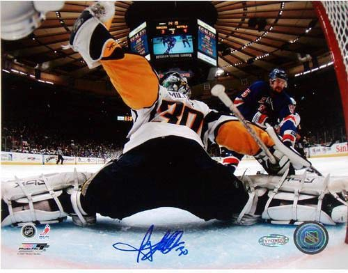 (Ryan Miller Goal Cam Kick Save vs. Rangers Signed 8x10 Photo - Steiner Sports Certified - Autographed NHL Photos)