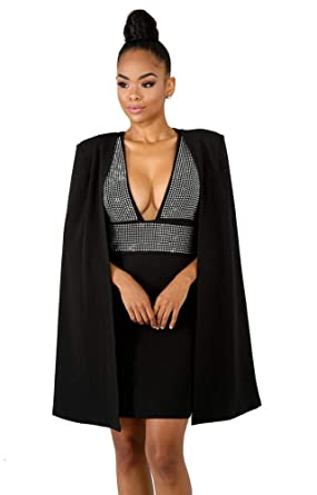 3c25799ef02d Image Unavailable. Image not available for. Color: Sexy Club Outfits for  Women - Cape Blazer with Sleeveless Sequin ...