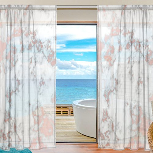 Cooper girl Rose Gold Marble Sheer Window Curtain Panel Drape 55x78 Inch for Living Room Bedroom Kids Room 2 Piece
