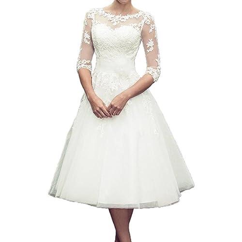 H.S.D Women's A Line 3/4 Sleeve Tea Length Lace Wedding Dress Bridal Gown