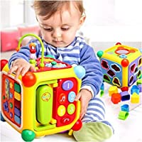 GoAppuGo 6-in-1 Educational Activity Toy with Shapes Sorter, Phone, Musical Piano, Key, Mirror for Kids, 1-3 Years - 10 Pieces