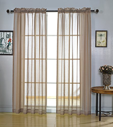 MYSKY HOME Rod Pocket Window Voile Sheer Curtains, Taupe, 52 x 84 Inch, Set of 2 Panels - Long Tailored Curtain Panel