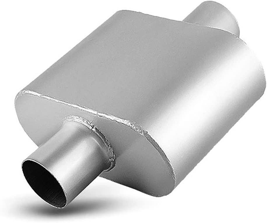 3 inches Offset In//Center Out Stainless Steel Straight Street Muffler x2 201100