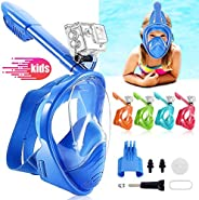 NARUTOO Snorkel Mask for Kids, 180 ° Panoramic View Free Breathing Full Face Snorkeling Mask Anti-Fog and Anti
