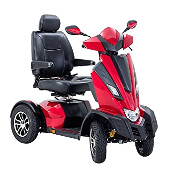 Drive Medical King Cobra Executive Power Scooter with 4 Wheel & Captain Seat, Vivid Red, 22 Inch