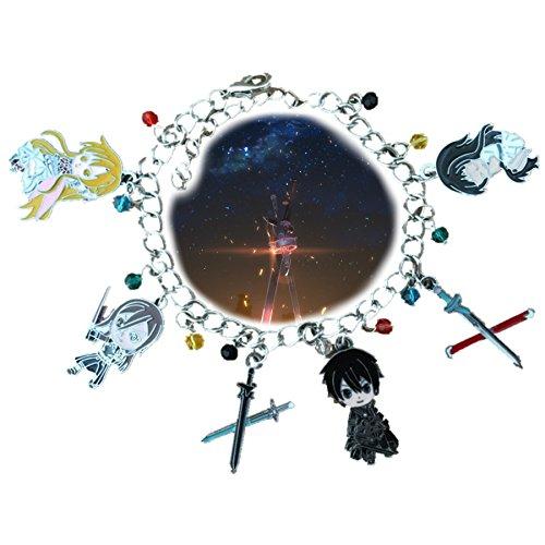 Sword Art Online 6 Charms Lobster Clasp Bracelet in Gift Box by Superheroes Jewelry Bracelets And Earrings Online
